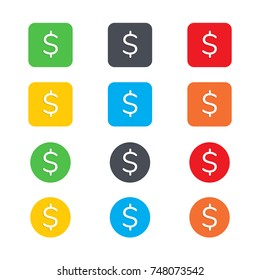 Dollars sign icon. USD currency symbol. Money label. Circles and rounded squares buttons, Dollars sign  EPS