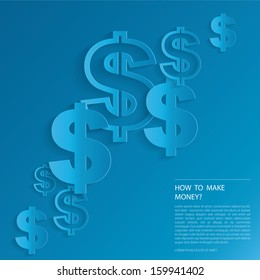 Dollars sign on blue background.