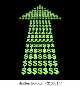 Dollars symbol arrow pointing upwards illustration