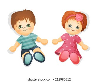 Dolls. Boy and girl toy. vector illustration