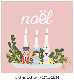Dolls Christmas Candle Holders. Decoration tray. Noel