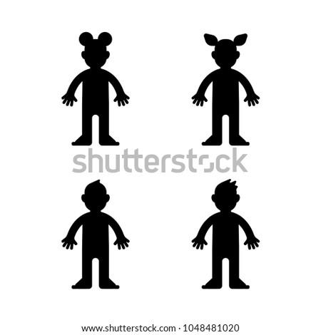 Dolls Little Boy Girl Black Silhouette Stock Vector Royalty Free