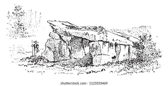 Dolmen Breton from the early times of polished stone, vintage engraved illustration. From Natural Creation and Living Beings.