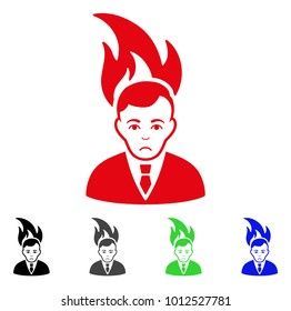 Dolor Fired Manager vector pictograph. Vector illustration style is a flat iconic fired manager symbol with gray, black, blue, red, green color versions. Face has sadly sentiment.
