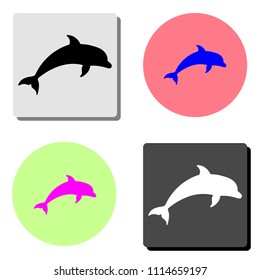 Dolphin aquatic mammal. simple flat vector icon illustration on four different color backgrounds