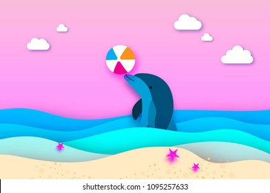 Dolphin and beach ball in the sea in paper cut style. Origami layered beautiful seascape and sky. Hawaii Pacific Ocean wildlife scenery. Marine animals in natural habitat.
