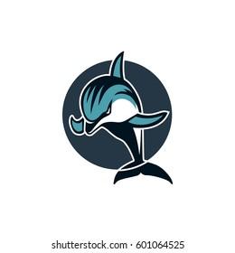 Dolphin in a circle sport logo emblem vector illustration