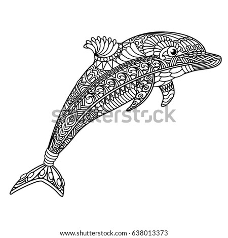 Dolphin Coloring Book Adults Stock Vector (Royalty Free) 638013373 ...