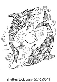Dolphin coloring book for adults vector illustration. Anti-stress coloring for adult. Tattoo stencil. Zentangle style. Black and white lines. Lace pattern