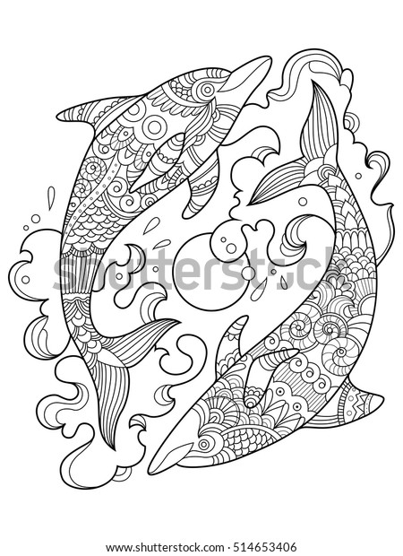 - Dolphin Coloring Book Adults Vector Illustration Stock Vector (Royalty  Free) 514653406