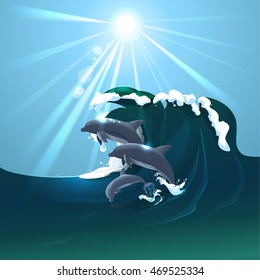 Dolphin family jumping over waves vector illustration