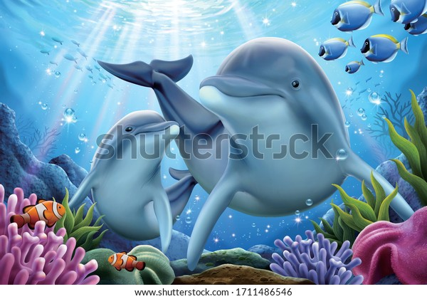 Dolphin family playing together underwater with sun ray shining through sea surface on the back, 3d illustration