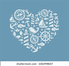 Dolphin, fish and attributes sea travel. White icons in the shape of a heart. Vector picture. Hatching with a white pencil on a blue field. Imitation.