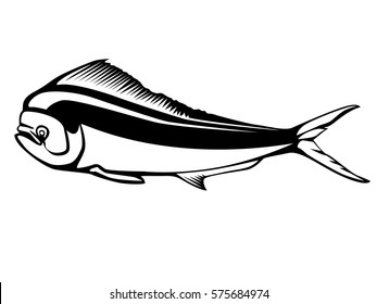 Dolphin fish isolated on white background. Emblem of fresh mahi mahi. Sport fishing club logo.