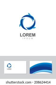 Dolphin icon design element with business card template.