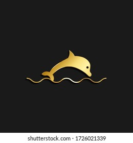 Dolphin, icon gold icon. Vector illustration of golden style