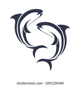 Dolphin Icon Logo. Vector illustration. Isolated.