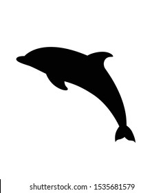 Dolphin icon vector silhouette on a white background