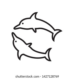 dolphin icon vector in simple style