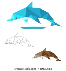 dolphin illustration graphic art in low polygon vector, geometric illustration, origami art