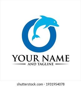 Dolphin Initial O Logo Template.