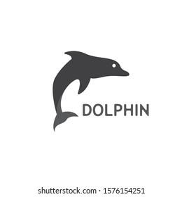 Dolphin jump logo or icon vector template