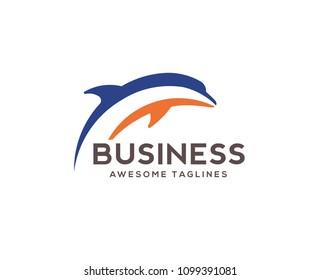 dolphin jumping logo vector