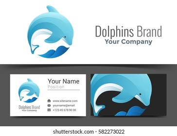Dolphin Jumping Wave Corporate Logo and Business Card Sign Template. Creative Design with Colorful Logotype Visual Identity Composition Made of Multicolored Element. Vector Illustration.