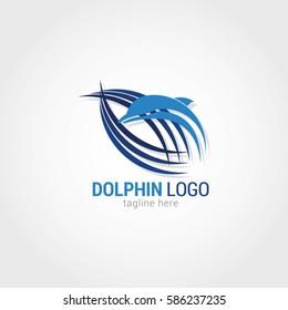 Dolphin Logo Design Template. Vector Illustration