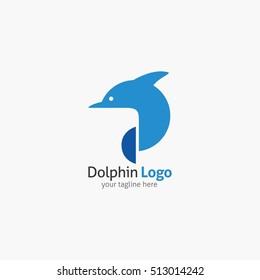 Dolphin logo and emblem design template