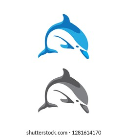 Dolphin logo solid blue and grayscale isoloated white background