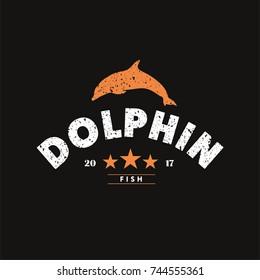 Dolphin Logo Vector Graphic Design. Flat Isolated Illustration Design