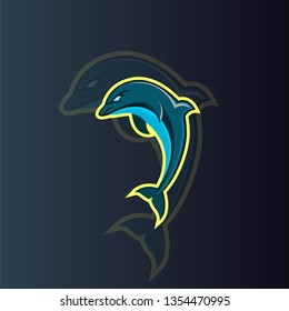 Dolphin mascot logo concept illustration for your gaming profil pict
