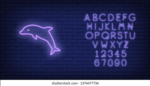 Dolphin neon sign. Purple dolphin jumping on brick wall background. Night bright advertisement. Vector illustration in neon style for delphinarium and water performance
