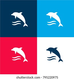 Dolphin on water waves four color material and minimal icon logo set in red and blue