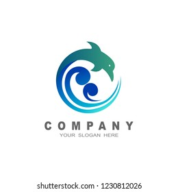 dolphin on the wave, water animal icon,dolphin jumping above waves, sport,animal