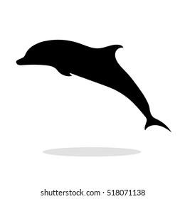 Dolphin sea animal black silhouette.