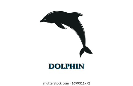 Dolphin Silhouette Icon Isolated on White Background. Black Dolphin Logo Design Template. Jumping Dolphin Aquatic Mammal Vector Icon for social media, Animal Apps and Websites. Vector Illustration eps