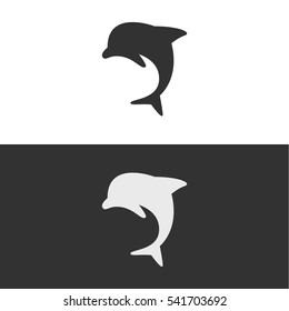 Dolphin Silhouette Logo or Icon. Isolated.