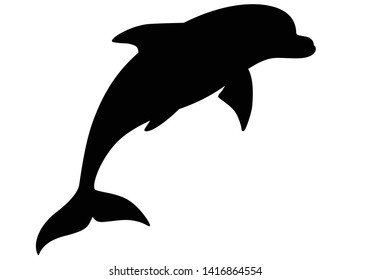 Dolphin silhouette - marine mammal. Bottlenose dolphin - vector image for a logo or sign. Dolphins are inhabitants of the ocean.
