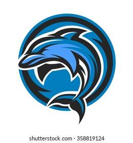 Dolphin sport logo, emblem.