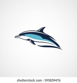 Dolphin swims logo sign emblem on white background