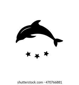 Dolphin vector silhouette. Vector logo concept illustration. Dolphin symbol. Design of logo with dolphin and label.