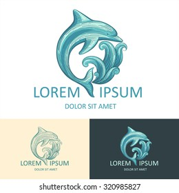 Dolphin and wave vector logo template with sample text. Isolated logotype icon.