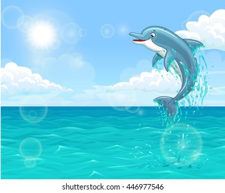 The dolphin who is jumping out of sea water of the ocean in splashes against the blue sky and the sun. Horizontal landscape background of summer mood. Vector illustration.