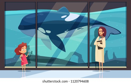 Dolphinarium horizontal composition with hotel aquarium wall and female human characters of interpreter and teenage girl vector illustration