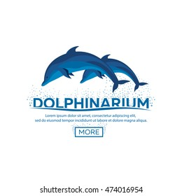 Dolphinarium logo. Dolphin logo. Banner. Vector flat illustration.