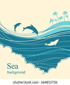 Dolphins in blue sea wave.Seascape illustration horizon for text