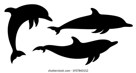 Dolphins graphic icons set. Signs swimming dolphins isolated on white background. Sea life symbols. Vector illustration