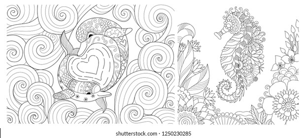 Dolphins with hearted shape sea wave and seahorse collection for coloring book, coloring page. Vector illustration
